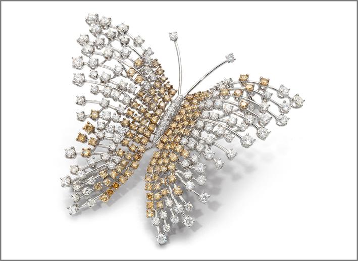 Roberto Coin, spilla in oro bianco con diamanti bianchi e brown