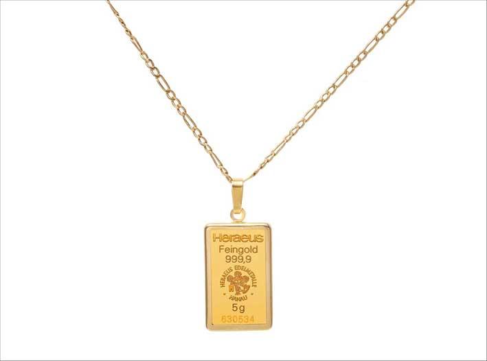 Pendente Lifesaver in oro a forma di lingotto, 5 grammi
