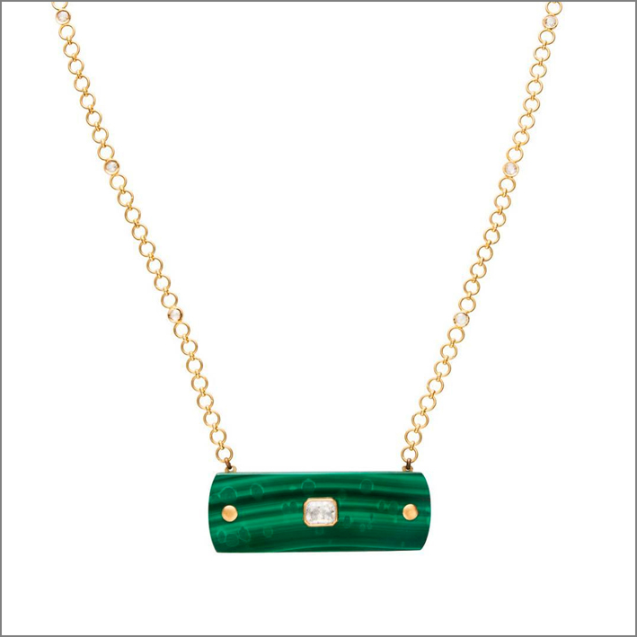Collana con malachite e diamante