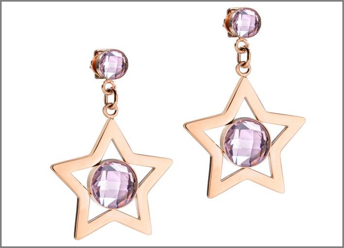 Orecchini rosa con cristallo viola
