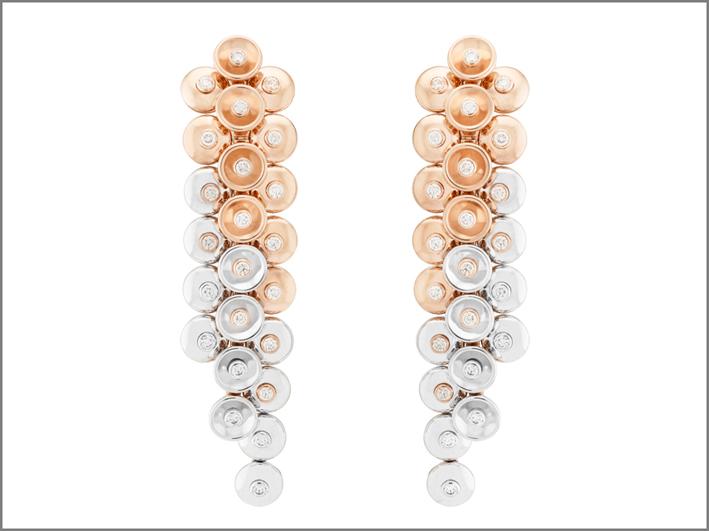 Orecchini in oro rosa, oro bianco e diamanti