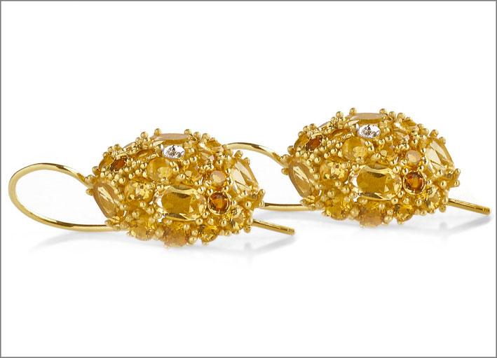 Orecchini in argento dorato con citrini