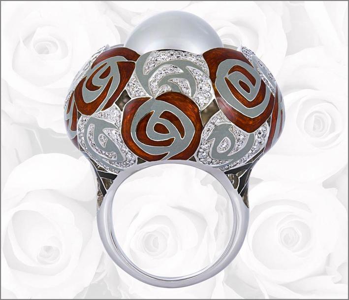 Anello Passione for roses, oro bianco, diamanti, smalto