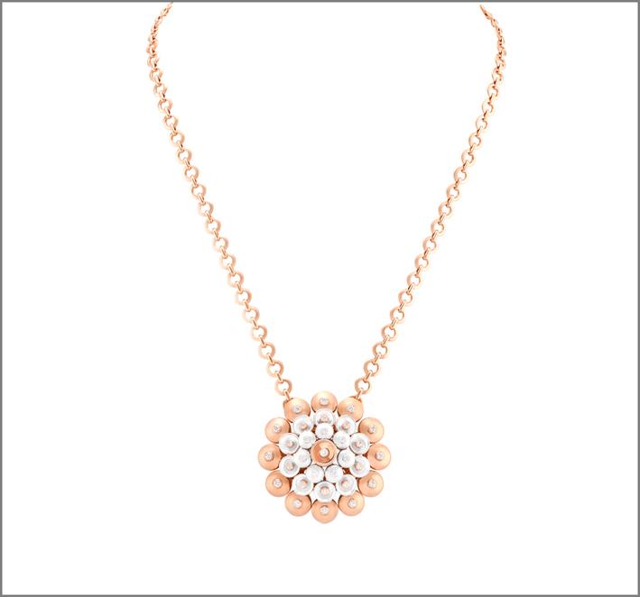Pendente in oro rosa, oro bianco e diamanti