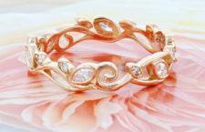Anello per matrimonio in oro rosa e diamanti