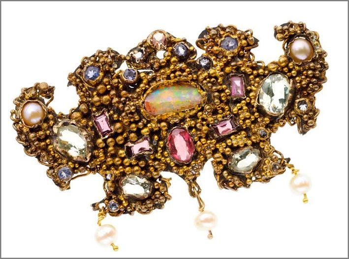 Spilla in oro 24 carati, opale, gemme