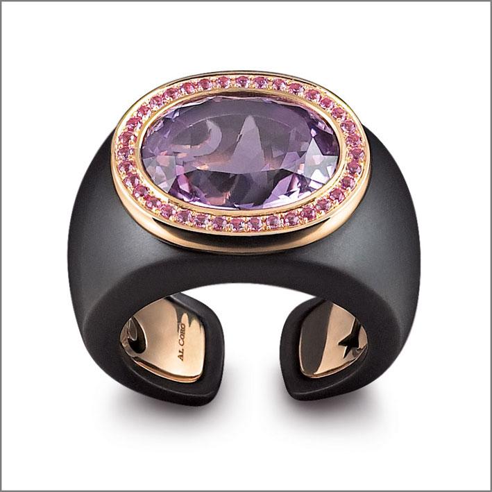 Neraviglia, anello con ametista, Mezzaluna collection
