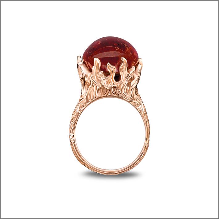 Anello Phoneix, granato, spessartite, oro rosso 18 carati
