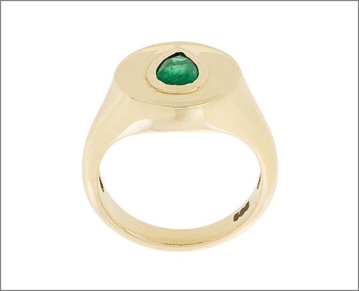 Sarah Noor, anello in oro 14 carati e smeraldo