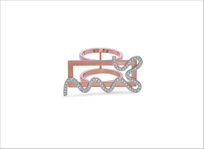 Anello rettangolare in oro rosa e bianco con diamanti
