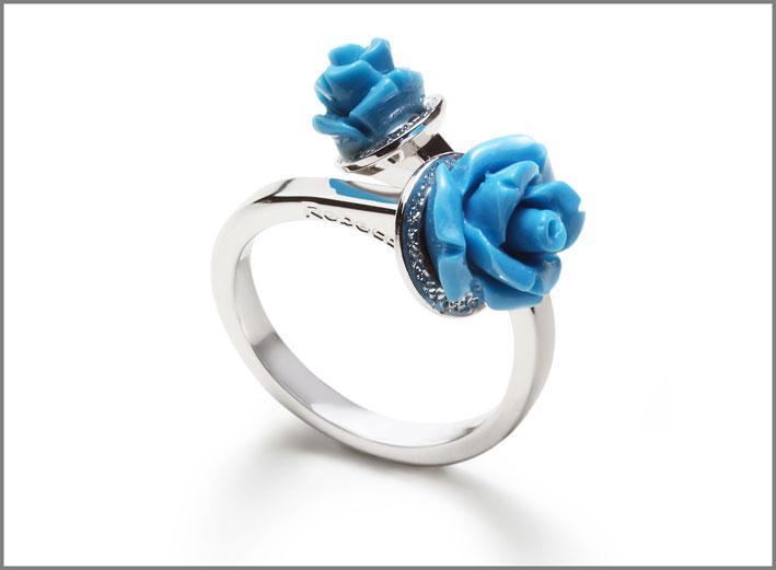 Rebecca, anello con pasta di turchese