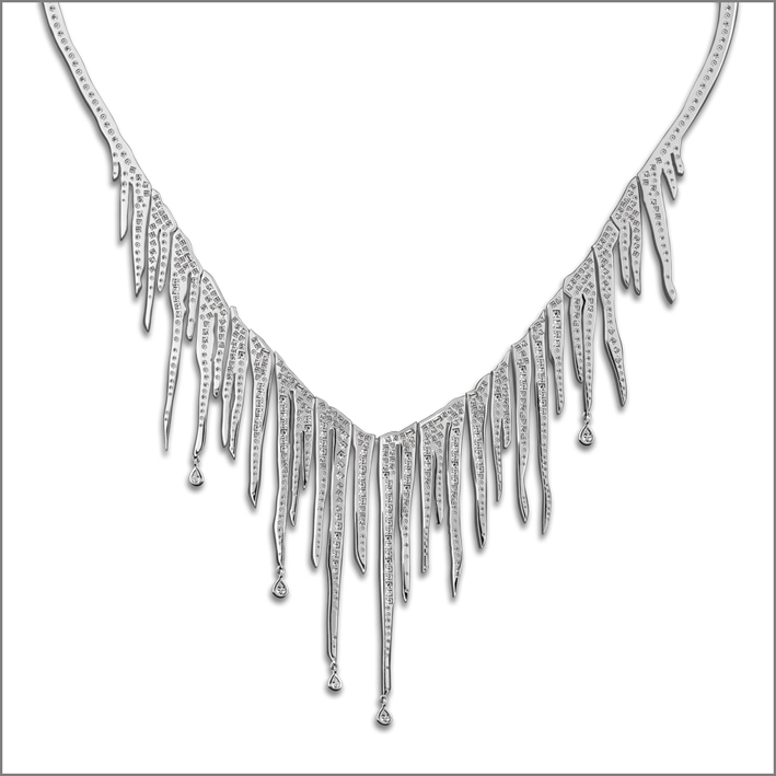 Collana Ice, oro bianco e diamanti