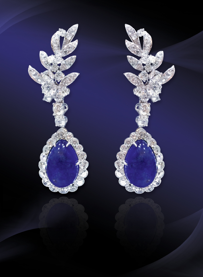 Chaumet, orecchini con zaffiri burmesi, diamanti, platino