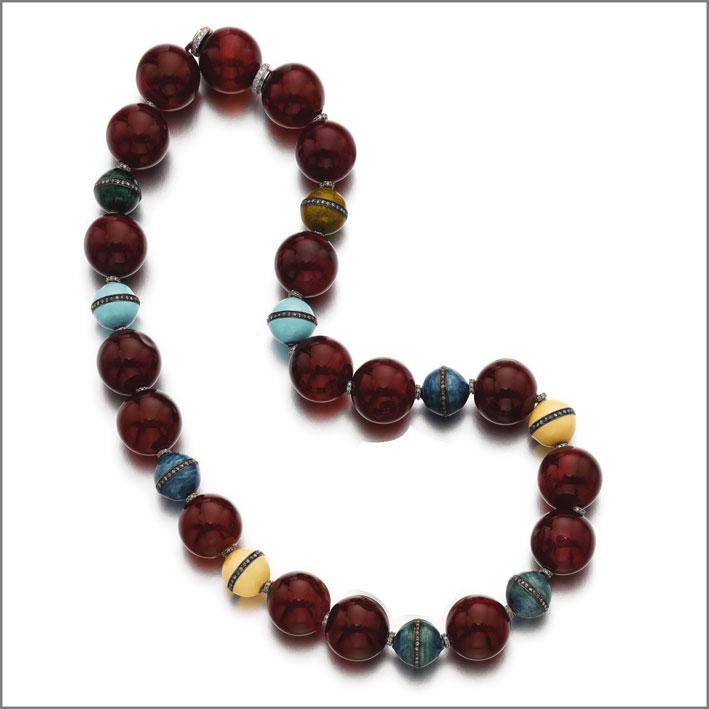 Michele della Valle, collana in agata rossa, smalto e diamanti