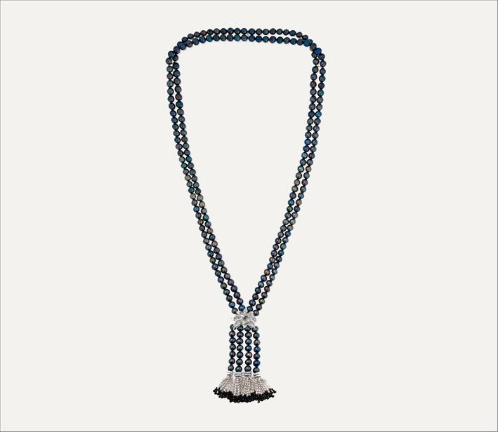 Collana in oro, perle, anice, diamanti