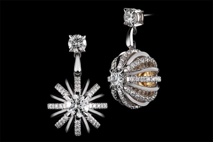 Orecchini Dangling Snowflake con diamanti