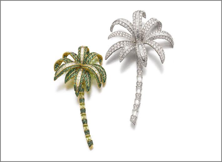 Spilla a forma di palma, con diamanti, tsavorite e peridoto