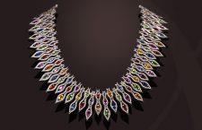 Collier con diamanti e zaffiri multicolori della collezione Flamme