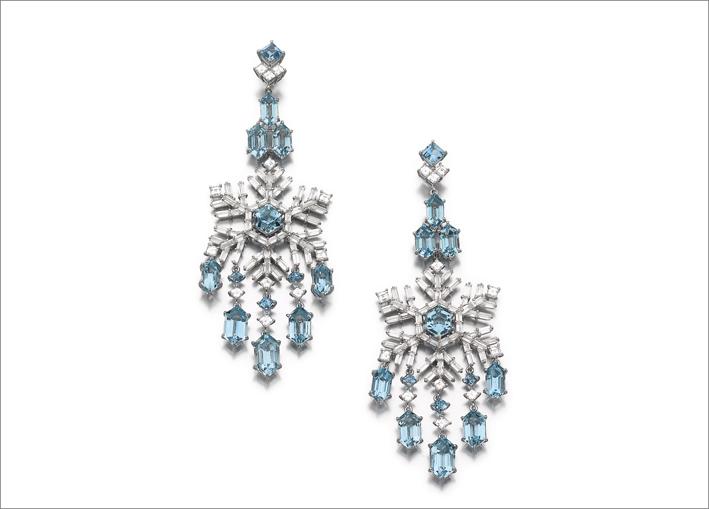 Francesco Rosa, orecchini chandelier con acquamarina e diamanti