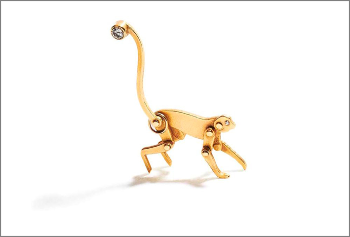 Pendente Monkey in oro e diamante
