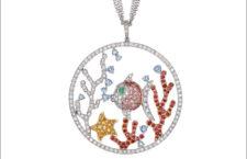 Collezione Natura, collana con pendente Barriera corallina, oro bianco, diamanti, zaffiri