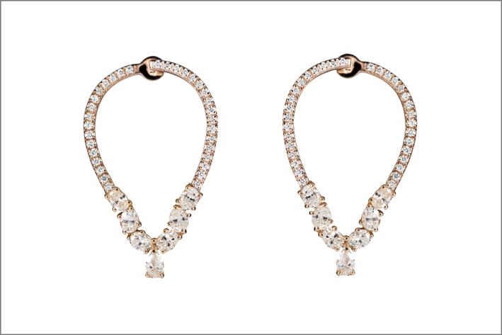 Riviére, orecchini in oro rosa e diamanti