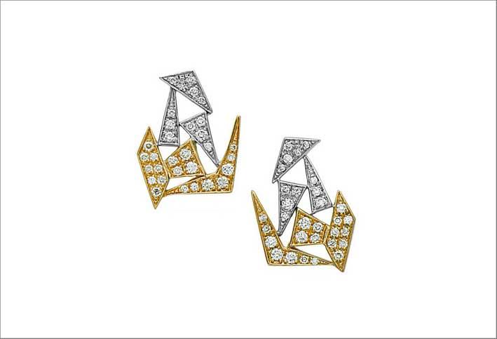 Orecchini con oro bicolore e diamanti
