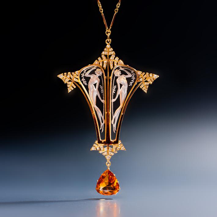 René Lalique, pendente in vetro, smalto, citrino, diamante, oro