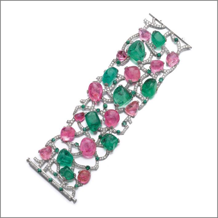 Bracciale Sassi con smeraldi, diamanti e zaffiri rosa
