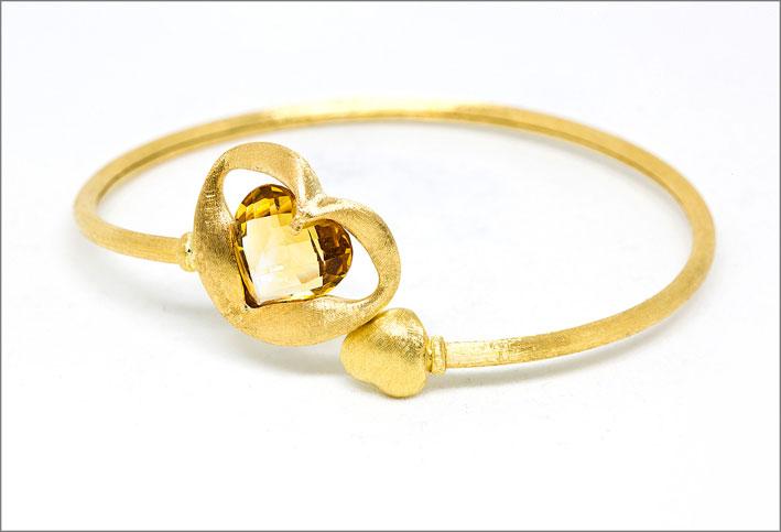 Schiava in oro giallo satinato con topazio e citrino