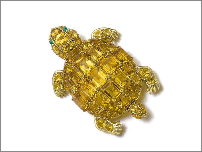 Spilla Tartaruga con citrini e smeraldi