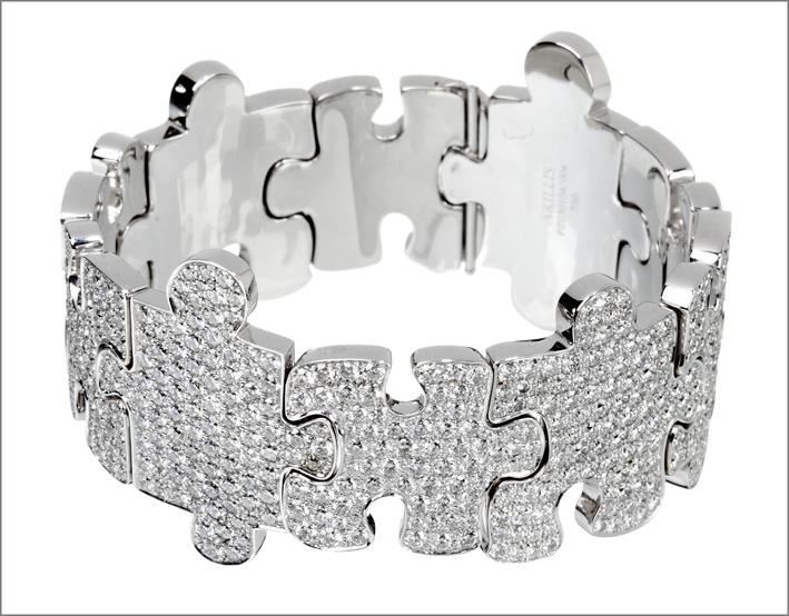 Akillis, bracciale Puzzle, in oro bianco e diamanti