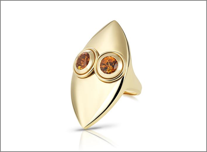 Anello Mask, in oro e granati orange