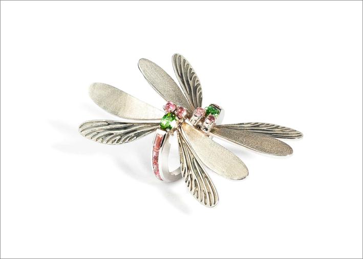 Anello libellula con tormaline rosa e verdi