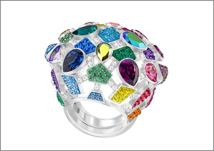 Anello Swarovski con cristalli colorati