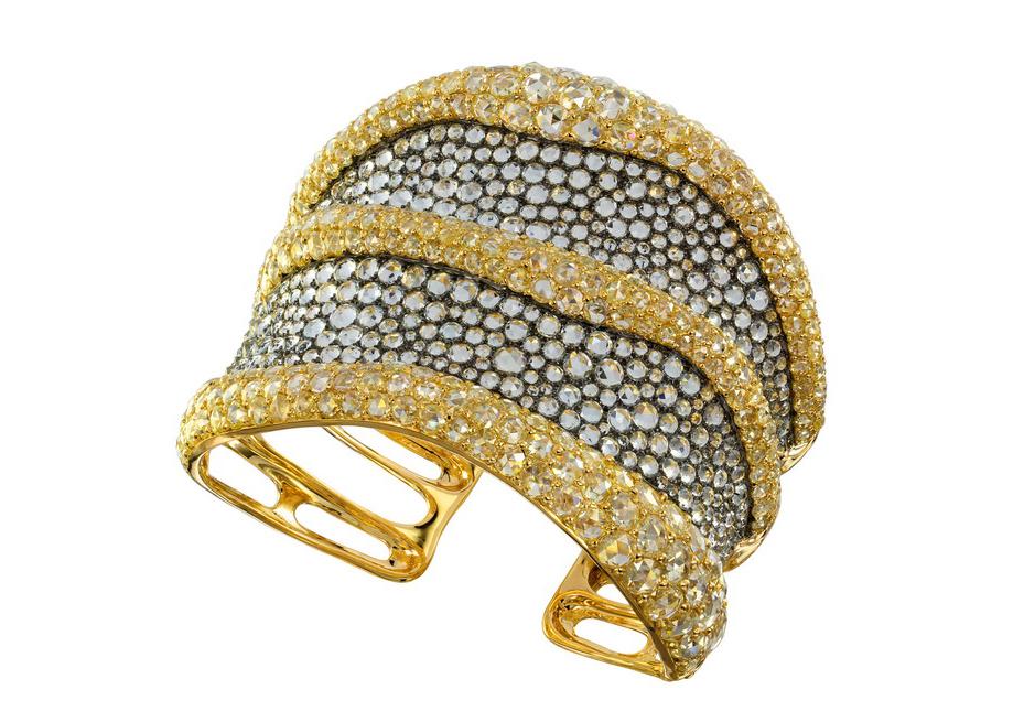 Bracciale di Etho Maria in oro, diamanti bianchi e gialli, acquamarina