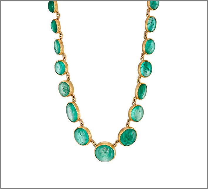 Collana in oro 22 carati e smeraldi colombiani