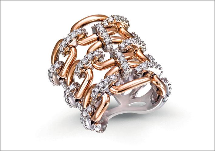Orecchini della collezione Lanternine, oro rosa, diamanti, gemme colorate