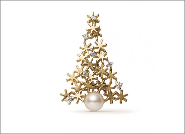 Spilla di Mikimoto in oro 18carati, perla e diamanti