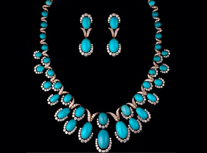 Van Cleef & Arpels, set con turchesi e diamanti