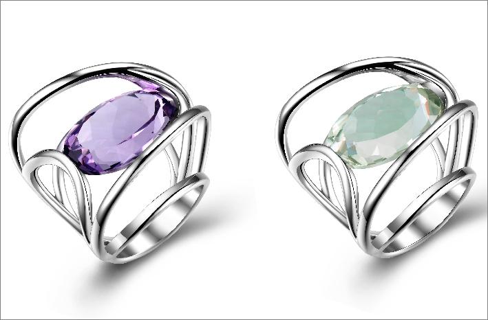 Anello in argento e ametista viola di 14,9 carati. Prezzo: 450 euro. Com ametista verde: 380 euro