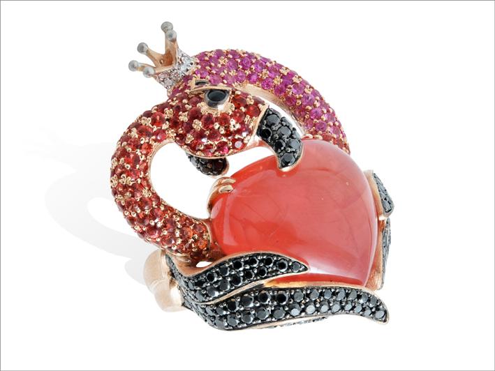 Anello Flamingo, oro rosa, rodocrosite, zaffiri, rubini, diamanti neri e bianchi, zaffiri orange e rosa