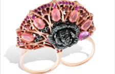 Lydia Courteille, anello doppio, Bracciale in oro rosa, rodocrosite, spinelli, zaffiri orange, rubini, diamanti neri