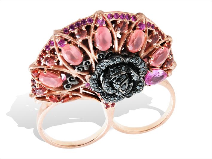 Anello doppio, Bracciale in oro rosa, rodocrosite, spinelli, zaffiri orange, rubini, diamanti neri