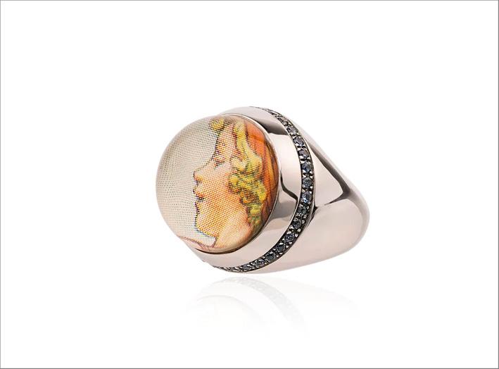 Anello Cicely Mary Barker in oro 9 carati e zaffiro