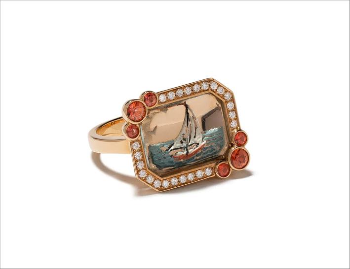 Anello da cocktail in oro rosa 18 carati, diamanti e zaffiri