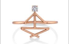 Anello di preghiera, oro rosa e diamante. Prezzo: 625 dollari