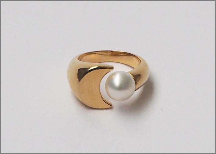 Anello Luna con perla