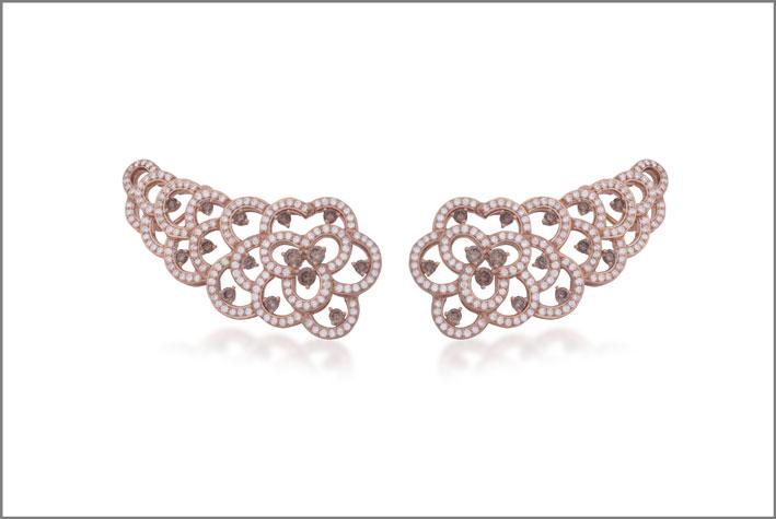 Orecchini oro rosa e perle