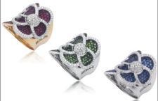 Anelli in oro bianco e rosa, zaffiri smeraldi, rubini